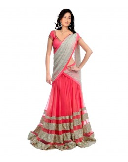 Designer Grey & Pink Sequence Work Lehenga Choli - 222