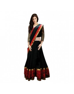 Party Wear Black & Red Net Lehenga Choli - 218