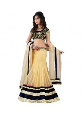 Party Wear Cream Net Lehenga Choli - 215