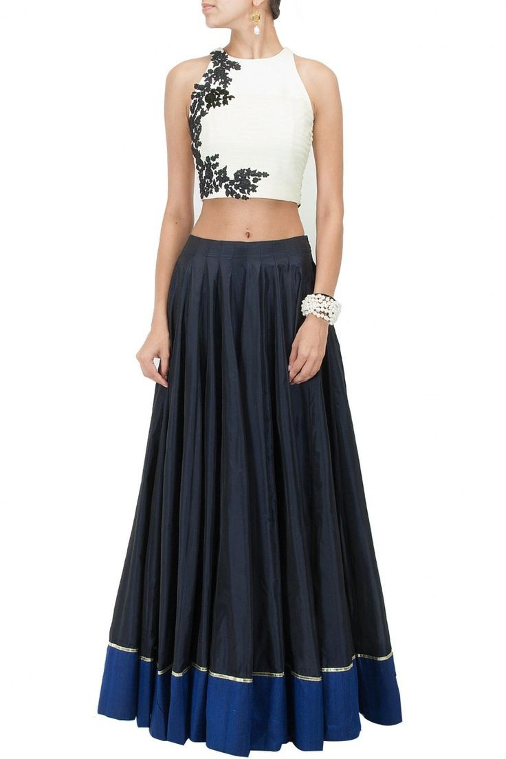 Party Wear White  & Navy Blue Crop Top Lehenga - 240