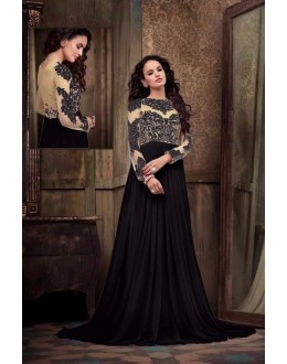 Eid Special Party Wear Net Cream & Black Gown - 302