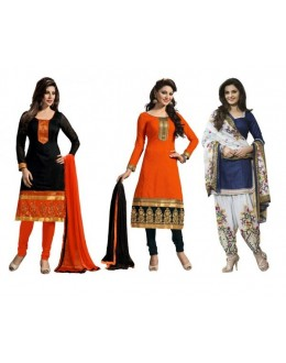 Combo of Black , Orange , Blue Party Wear Salwar Suit - DAV_Com5