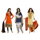 Combo of Orange , Blue , Cream Party Wear Salwar Suit - DAV_Com6