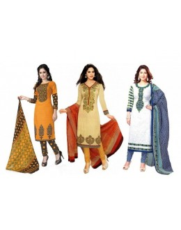 Combo of  Orange , White & Cream Party Wear Salwar Suit - DAV_Com2