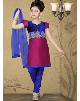 Kids Wear Beautiful Magenta & Blue Salwar Suit - 10125