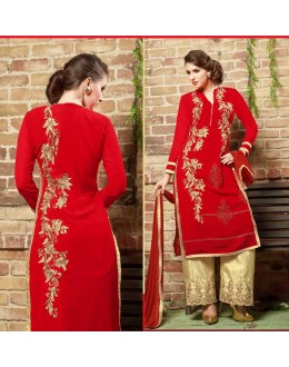 Festival Wear Red & Cream Georgette Palazzo Suit  - 10542