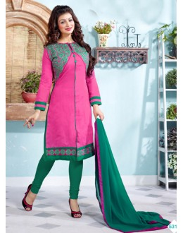 Ayesha Takia In Pink & Green Chanderi Salwar Suit  - 13056
