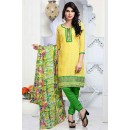 Office Wear Yellow & Green Brasso Cotton Salwar Suit  - 13248