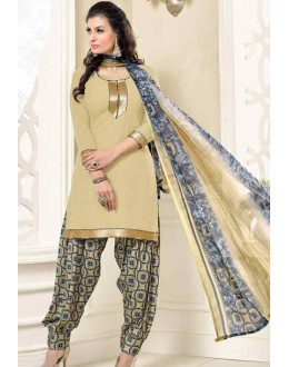 Festival Wear Beige Poly Crepe Patiyala Suit  - 13565
