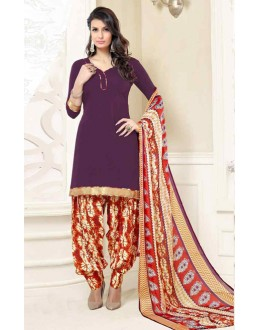 Casual Wear Purple & Orange Poly Crepe Patiyala Suit  - 13568