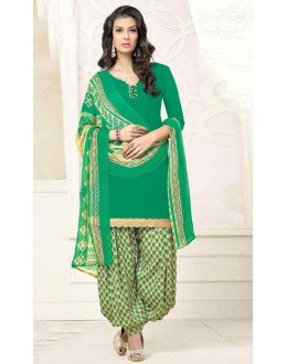 Ethnic Wear Green & Beige Poly Crepe Patiyala Suit  - 13569
