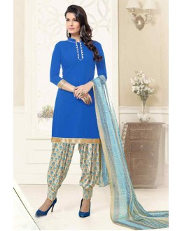 Office Wear Blue & Beige Poly Crepe Patiyala Suit  - 13570
