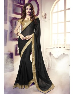 Party Wear Black & Beige Georgette Saree  -  13859