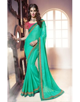 Party Wear Sky Green & Pink Saree  -  13862