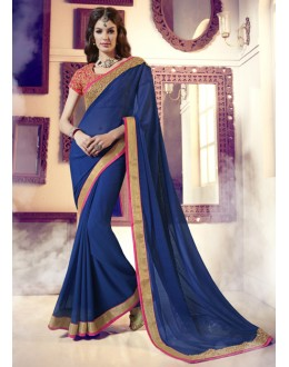 Festival Wear Blue & Pink Saree  -  13863