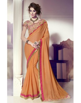 Wedding Wear Light Orange & Pink Saree  -  13864