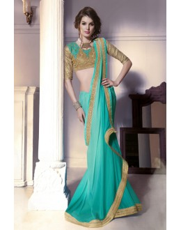 Party Wear Sky Green & Beige Chiffon Saree  -  13865