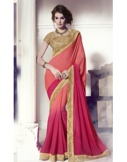 Festival Wear Orange & Pink Georgette Saree  -  13866