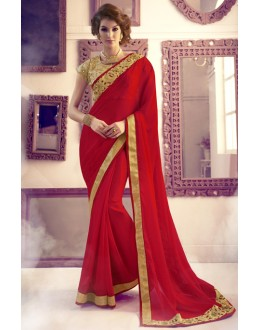 Party Wear Red & Golden Pure Chiffon Saree  -  13867