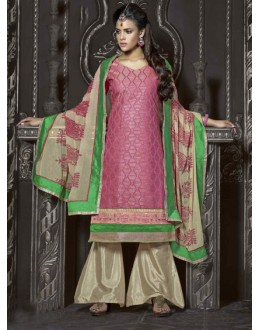 Ethnic Wear Pink & Cream Chanderi Palazzo Suit  - 13872