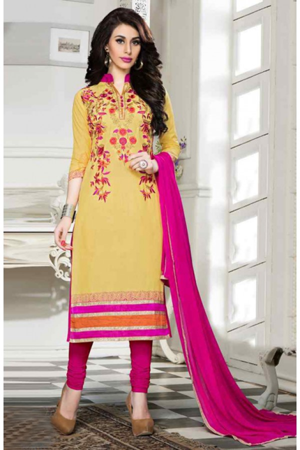 Office Wear Yellow & Pink Cotton Salwar Suit  - 13927