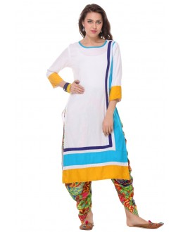 Casual Wear Readymade White Cambric Cotton Kurti - 13997