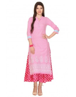 Party Wear Readymade Pink Rayon Kurti - 13999