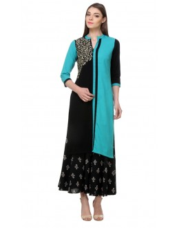 Party Wear Readymade Blue & Black Rayon Kurti - 14000