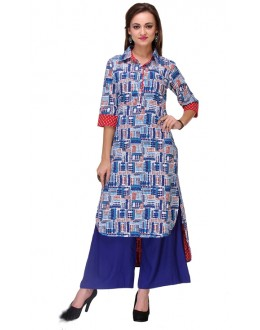 Casual Wear Readymade Multi-Colour Cambric Cotton Kurti - 14003