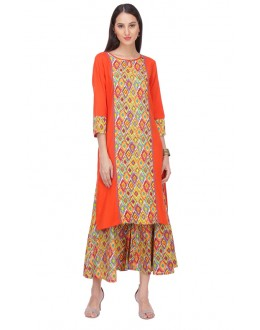 Ethnic Wear Readymade Orange Rayon Kurti - 14004