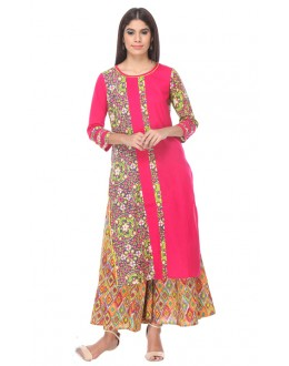 Office Wear Readymade Pink Rayon Flex Kurti - 14005