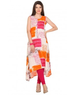 Party Wear Readymade Multi-Colour Rayon Flex Kurti - 14006