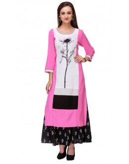 Casual Wear Readymade Pink & White Kurti - 97K222