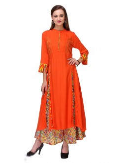 Ethnic Wear Readymade Orange Rayon Kurti - 97K224