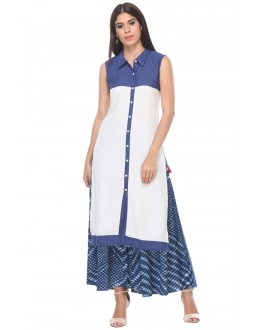 Office Wear Readymade White & Blue Kurti - 97K226