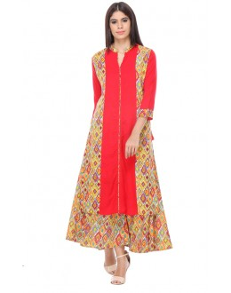 Casual Wear Readymade Red Rayon Kurti - 97K232