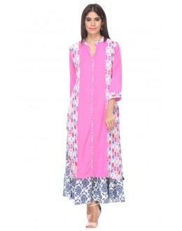 Office Wear Readymade Pink Rayon Kurti - 97K233