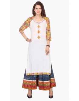 Festival Wear Readymade Off White Rayon Kurti - 97K243
