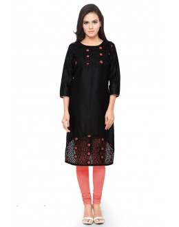 Office Wear Readymade Black Glace Cotton Kurti - 14021