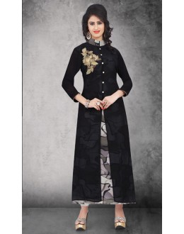 Party Wear Readymade Black & Grey Kurti - 14296