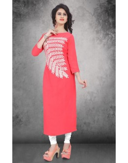 Party Wear Readymade Peach Georgette Kurti - 14297