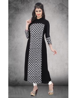Casual Wear Readymade Black Georgette Kurti - 14299
