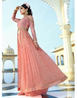 Festival Wear Pink Royal Georgette Slit Anarkali Suit  - 14841