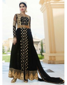 Wedding Wear Black Royal Georgette Slit Anarkali Suit  - 14843
