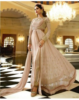 Party Wear Cream Royal Georgette Slit Anarkali Suit  - 14845