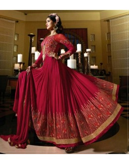 Festival Wear Red Royal Georgette Slit Anarkali Suit  - 14848