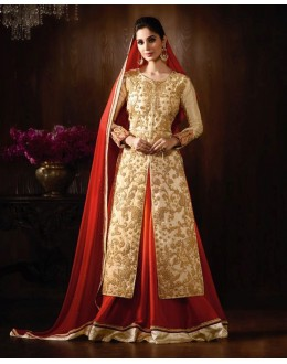 Raw Silk Cream Embroidered Lehenga Suit  - 14910