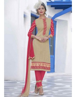 Festival Wear Beige Cotton Salwar Suit - 14949