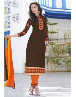 Ethnic Wear Brown Cotton Salwar Suit - 14951