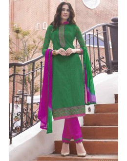 Un-Stitched Green Cotton Salwar Suit - 14952